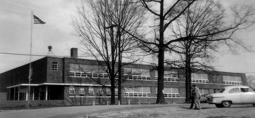 Black and white photograph of Graham Road Elementary School in 1954.