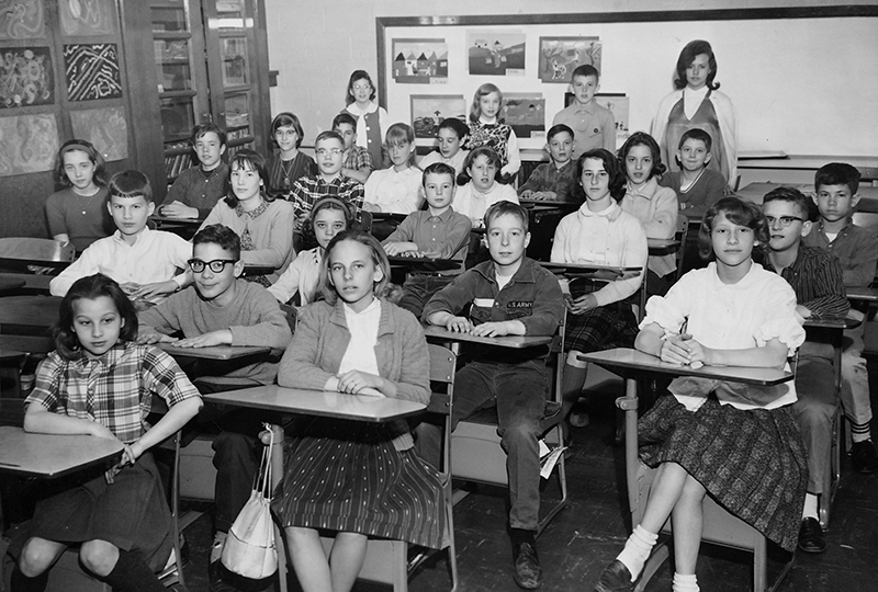 Black and white Graham Road Elementary School class photograph, early 1960s.